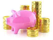 Piggy bank and stock golden coins Stock Photography