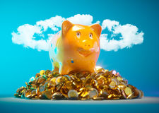 Piggy bank with stock of money. And clouds in halo shape in background stock illustration