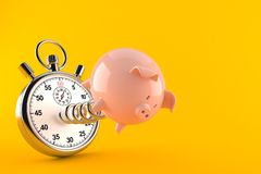 Piggy bank with stopwatch. On orange background. 3d illustration royalty free illustration