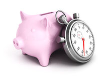 Piggy Bank with Stopwatch on a white background Royalty Free Stock Photography