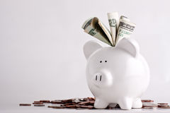 Piggy bank stuffed with money. Huge savings, lots of money, or lottery windfall, copyspace, lots of space stock image