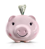 piggy bank stuffed with money Royalty Free Stock Photo