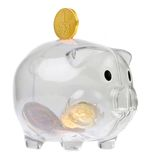 Piggy bank style glass moneybox Stock Images