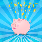 Piggy bank - on sunburt and splash coin of money Stock Images