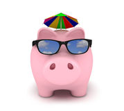 Piggy bank with sunglasses Stock Photography