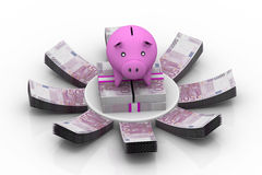 Piggy bank surrounded by Euro notes Royalty Free Stock Photography