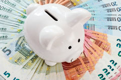 Piggy bank surrounded by Euro notes Stock Photo