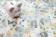 Piggy bank surrounded by five Euro notes Royalty Free Stock Photography