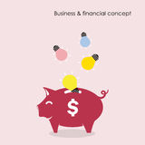Piggy bank symbol with business and financial concept. Royalty Free Stock Photos