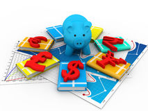 Piggy bank and symbol of currency Royalty Free Stock Photo