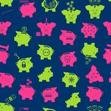 Piggy Bank Seamless Pattern Background. Vector. Piggy Bank Symbol of Money Finance Investment Seamless Pattern Background on a Blue Project Save Currency Concept Royalty Free Stock Photo