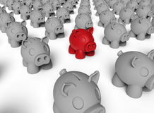Piggy bank target in crowd concept Royalty Free Stock Photo