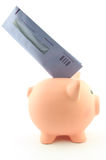 A piggy bank with a tax envelope. A piggy bank with a Dutch tax return envelope in its back, concept of getting money back from taxes Stock Images