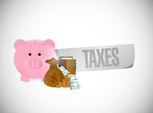 Piggy bank taxes sign illustration design. Over a white background Royalty Free Stock Photo