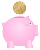 Piggy bank and ten euro cent. Piggy bank and coin on white background Stock Images