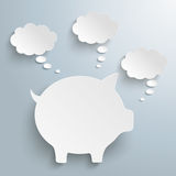 Piggy Bank 3 Thought Bubbles Royalty Free Stock Photography