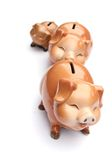 Piggy-bank. Three piggy-bank and banknote are isolated on white background Royalty Free Stock Photography