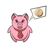 Piggy bank in tie with speech bubble and dollar sign Royalty Free Stock Photography