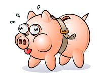 Piggy Bank with a tightened belt. When recession hits the global economy, even the piggy banks have to tighten their belts. RGB  illustration picturing hard Royalty Free Stock Photo