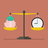Piggy bank and Time balance on the scale Stock Images