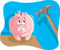 Piggy bank about to get smashed Royalty Free Stock Photos