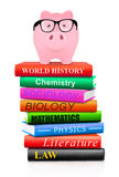 Piggy bank on top of books Stock Images