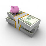 Piggy bank on top of pile of dollars Stock Photos