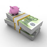 Piggy bank on top of pile of euro Royalty Free Stock Photography