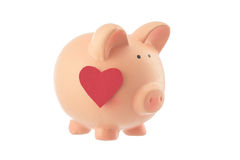 Piggy bank toy with heart studio isolated Royalty Free Stock Photo