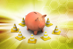 Piggy bank with traffic cone Royalty Free Stock Image