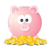 Piggy bank treasuer. Illustration of pink piggy bank with coins Royalty Free Stock Image