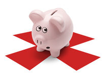 Piggy Bank Treasure. Pink Pig standing on X mark about to be broken open, Isolated on White Background Stock Photo