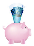 Piggy bank twenty euro banknote Royalty Free Stock Photos