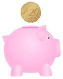 Piggy bank and twenty euro cent Stock Photos