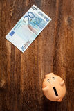 Piggy bank and twenty euro note Royalty Free Stock Image