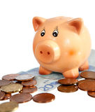 Piggy bank on twenty euro note Royalty Free Stock Photo