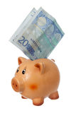 Piggy bank with twenty euro note Stock Photography