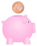 Piggy bank and two euro cent. Piggy bank and coin on white background Stock Photo