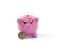 Piggy bank with two euros coin. Pink ceramic piggy bank with two euros coin isolated on white Royalty Free Stock Photography