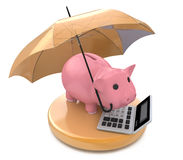 Piggy bank with umbrella. Wealth protection concept. In the design of information related to business Royalty Free Stock Photos