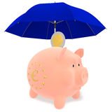 Piggy Bank under a blue umbrella. Piggy with the symbol of the European Union under a blue umbrella and euro coins Royalty Free Stock Image