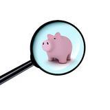 Piggy bank under the magnifying glass Royalty Free Stock Photos