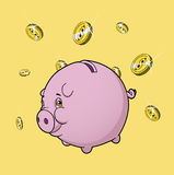 Piggy bank under rain of coins Royalty Free Stock Images