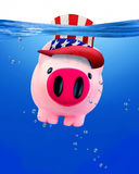 Piggy bank under water. American piggy bank under water with room for your type Royalty Free Stock Photo