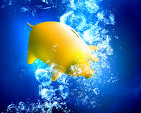 Piggy bank under water Stock Photography
