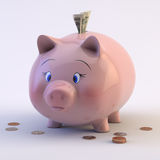 Piggy Bank with US Coins & Bills royalty free stock photo