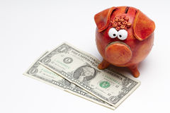 Piggy bank with US dollar bills. A piggy bank on a white background with 2 one US dollar bills. Bills are angled Stock Photography