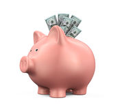 Piggy Bank with US Dollar Royalty Free Stock Image