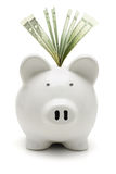 Piggy bank and US dollars royalty free stock image