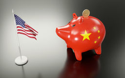 Piggy bank and USA flag. 3D rendering Royalty Free Stock Photo